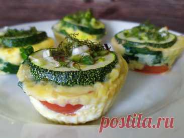 Мини омлет в духовке с кабачками, шпинатом и помидорами ПП рецепт