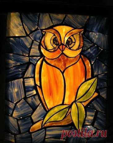 """Стеклянная мозаика """"Сова"""" Стеклянная мозаика """"Сова""""Нарежьте стекло по рисунку, чтобы создать такую милую стеклянную композицию с совой."""