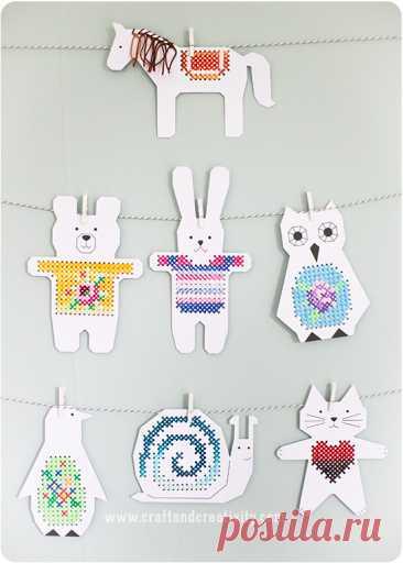 Вышивка крестом для детской комнаты – Бумажные животные для вышивки крестом | Ремесло и творчество – Pyssel & DIY