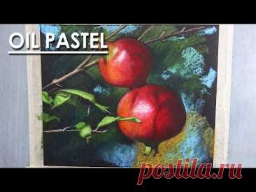 Realistic Oil Pastel Drawing : A Composition on Pomegranate