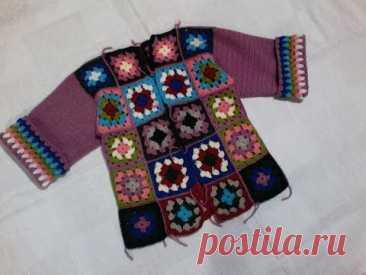 пальто вязаное крючком бабушкин квадрат часть №1