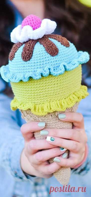 PDF Мороженое крючком. FREE crochet pattern; Аmigurumi toy patterns. Амигуруми схемы и описания на русском. Вязаные игрушки и поделки своими руками #amimore - Рожок, мороженое.