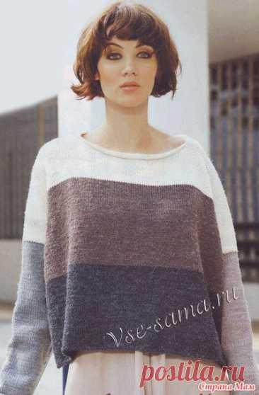 Широкий пуловер свободного кроя в полоску - Вязание - Страна Мам вязаные модели спицам