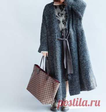 Women Long Coat Dark Gray Sweater Coat Waist Tie Long   Etsy