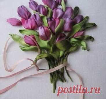 Вышиваем тюльпаны лентой