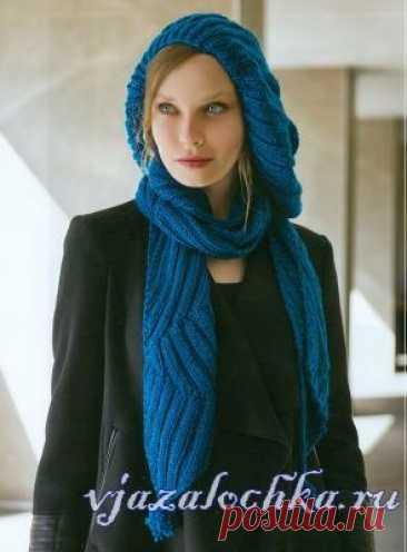 Вязаный берет спицами + шарф с помпонами