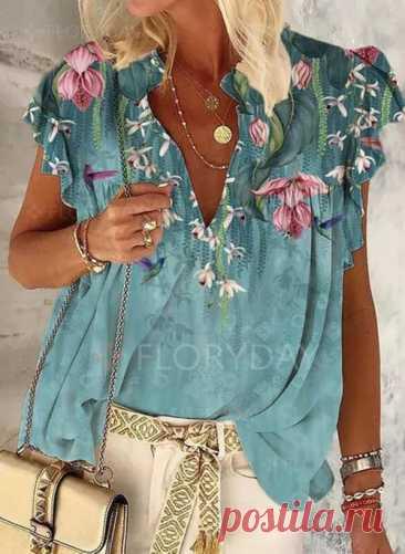 футболки Цветочный принт V-образный Короткие рукава - Floryday