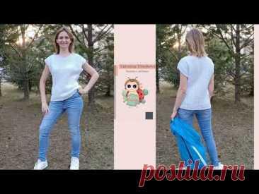 Красивая женская летняя футболка из хлопка спицами. Подробный МК спицами. Часть 1. Выкройка/спинка.