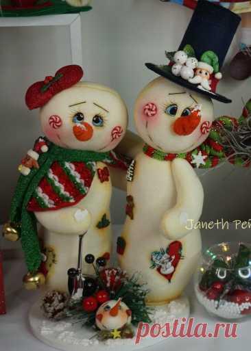 Новогодние снеговики из фетра. Выкройка