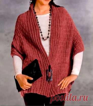 Стильный жилет-пончо (Вязание спицами) – Журнал Вдохновение Рукодельницы