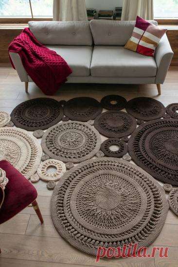 Шикарные ковры, связанные из отдельных мотивов - крючком! Примеры, идеи, схемы! | Юлия Жданова | Яндекс Дзен