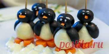 (+1) Пингвины из маслин и моцареллы : Салаты : Кулинария : Subscribe.Ru