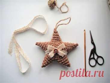 Мастер-класс смотреть онлайн: Вяжем крючком ёлочную игрушку из джута «Звезда» за один час