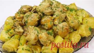 Чесночные Нудли (Штрудли) с Картошкой и Курицей