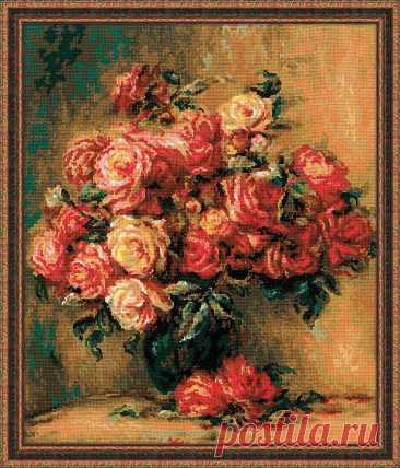 Букет роз по мотивам картины Пьера Огюста Ренуара (арт.1402 Риолис) купить в Stitch и Крестик