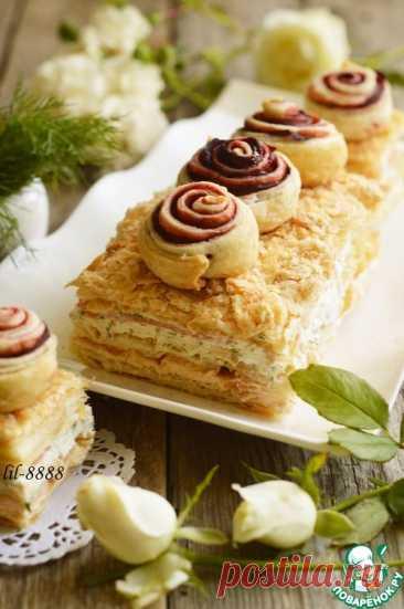 Закусочный торт с икорным кремом и семгой – кулинарный рецепт