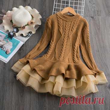 Зимнее платье для маленьких девочек; Детская одежда; Праздничные платья для девочек; Вязаный свитер с длинными рукавами; Плиссированное рождественское платье; Vestidos