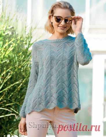 Тростниково-зеленый пуловер оверсайз спицами — Shpulya.com - схемы с описанием для вязания спицами и крючком