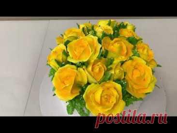 ПРОСТО и КРАСИВО Украсить ТОРТ! МК по ЧАЙНОЙ РОЗЕ! Розы из БЕЛКОВОГО КРЕМА! Красивый торт!