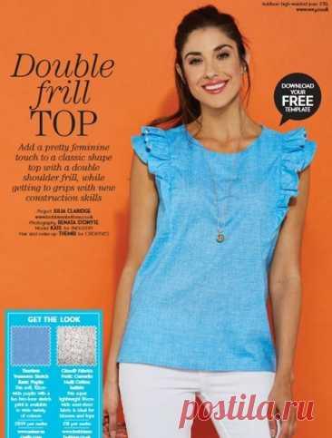 Блузка с оборками #Готовые_выкройки на размеры S, M, L. Материал: подойдут натуральные и смесовые ткани.