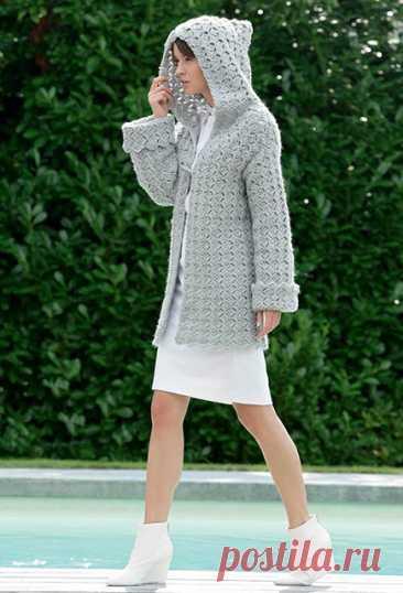 Серое полупальто с капюшоном Валоре крючком – схема и описание вязания — Пошивчик одежды