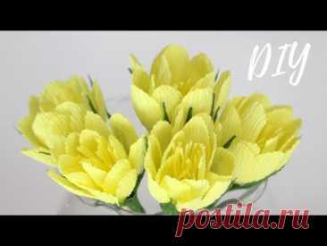 ЦВЕТЫ из бумаги за 5 МИНУТ ☆ МК ☆ DIY Corrugated Paper Flowers