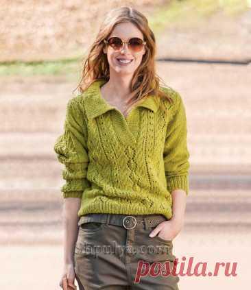 Пуловер поло с ажурным узором из «кос» — Shpulya.com - схемы с описанием для вязания спицами и крючком