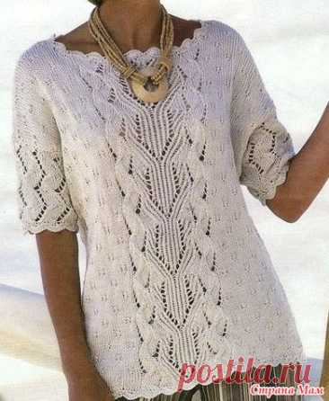 White pullover - Knitting - the Country of Mothers