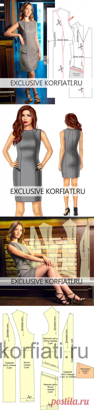 Выкройка платья с подрезными карманами от Анастасии Корфиати