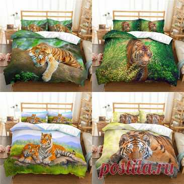 Комплект для кровати с принтом «Тигр» 2/3 шт. пододеяльник и наволочка (ы) 3D печатных Стёганое одеяло покрытие стола домашний текстиль подарок | Дом и сад | АлиЭкспресс