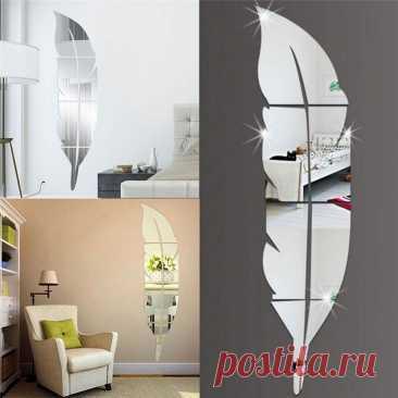 1 шт. акриловое зеркало для домашнего декора 15*72 см DIY перо шаблон акриловый зеркальный эффект стикер на стену для домашнего украшения|Декоративные зеркала| | АлиЭкспресс