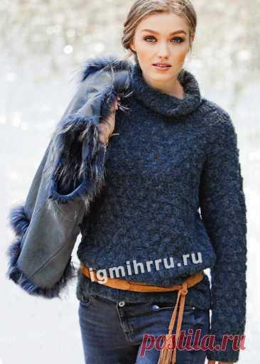 Универсальный свитер с узором из «шишечек». Вязание спицами со схемами и описанием