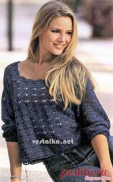 Темно-синий пуловер с рукавами до локтей. Размер: 34/36 (44/46).  Вам потребуется: пряжа темно — синего цвета «Toccata fino» (160 м/50 г); 450 (500) г и крючок № 3.