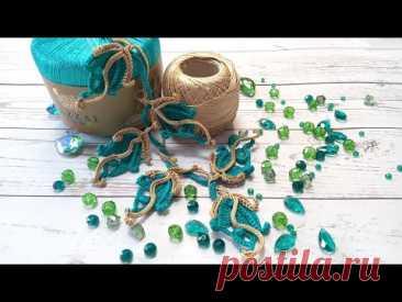 Ирландское кружево МК веточка с листочками #4 вязание крючком irish lace crochet
