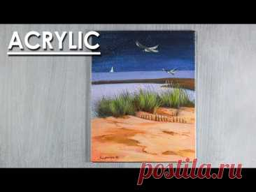 Acrylic Painting : A Beach Scene | steps to follow