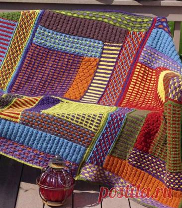 Пледы и вязаные одеяла из отдельных фрагментов - спицами. Идеи для воплощения. | Юлия Жданова | Яндекс Дзен