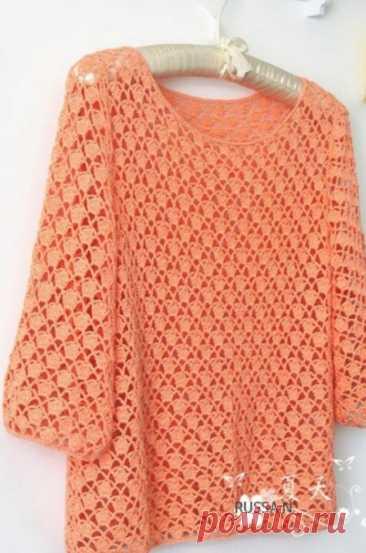 Пуловер персикового цвета, вяжем с радостью