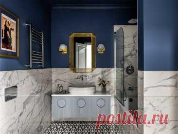 Проект недели: Элегантная ванная с хозяйственным блоком   Houzz Россия