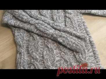 Женский свитер со жгутами. Вязание спицами.