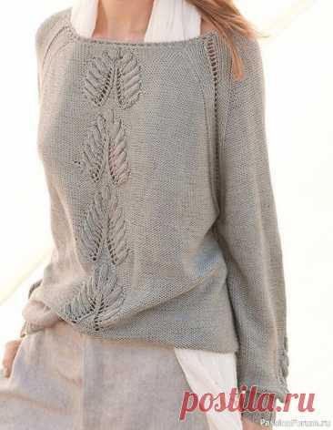 Элегантный пуловер с интересным узором | Вязание для женщин спицами. Схемы вязания спицами