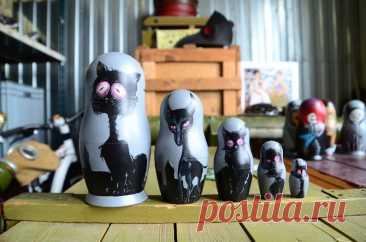 Вложенные куклы Матрешка Бабушка Деревянные Безумные Кошки   Etsy