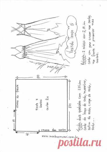 Шаблон и видео платье из лямки-спагетти с шарфом через шею - Marlene Mukai