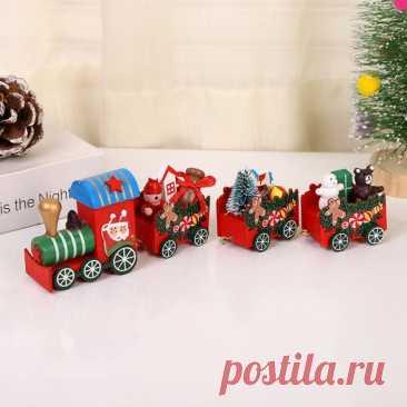 Снеговик Санта-Клаус деревянный поезд Рождественские украшения подарки Детские игрушки Рождественское украшение для стола домашние новогодние украшения | Дом и сад | АлиЭкспресс