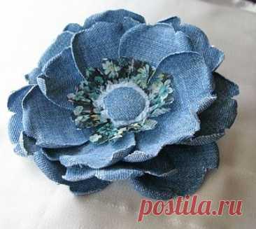 Цветы из джинсовой ткани: 2 мастер-класса ~ Свое рукоделие