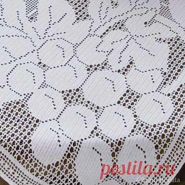 Схема реализации коврика с филе плода крючком.