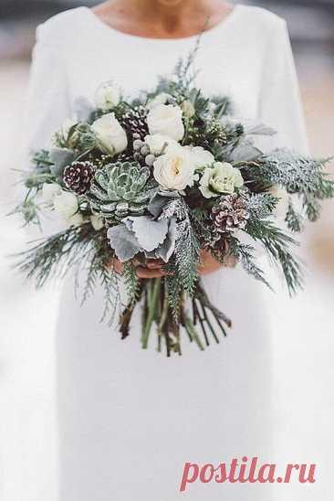 Зимний свадебный букет: 25 фото ~ ALL-DEKOR