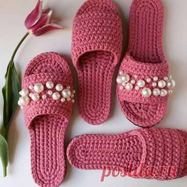 Домашние тапочки из текстильной пряжи (Вязание крючком) – Журнал Вдохновение Рукодельницы