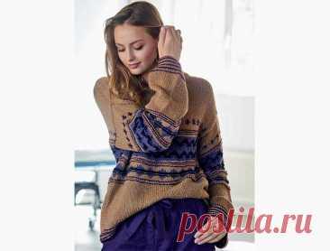 Пуловер со структурным жаккардовым узором