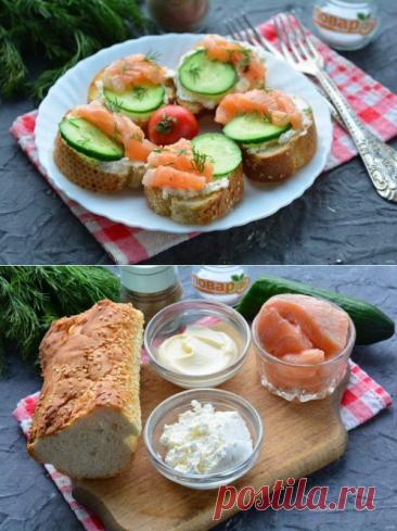 Бутерброды с рикоттой и красной рыбой | Вкусные кулинарные рецепты