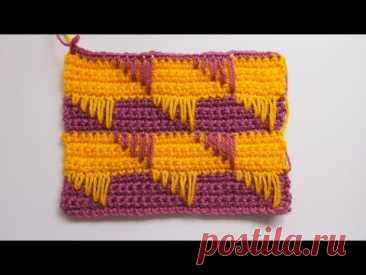 Узоры крючком Узор с вытянутыми петлями. Красивый узор для сумки +схема Урок 269  Crochet pattern